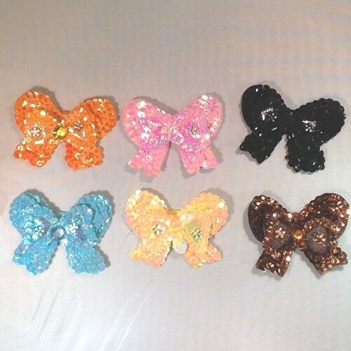 Sequin BOWS 6cm Small Embroidered Sew on Dance Applique Dressmaking Costumes