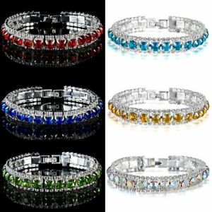 Fashion-Women-Crystal-Rhinestone-Tennis-Bracelet-Bangle-Wedding-Bridal-Wristband
