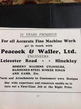 N1-1 Ephemera 1935 Hinckley Advert Peacock & Waller Ltd Machine Work