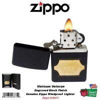 Zippo Vietnam Veteran Lighter, Engraved Black Crackle, Windproof 28875