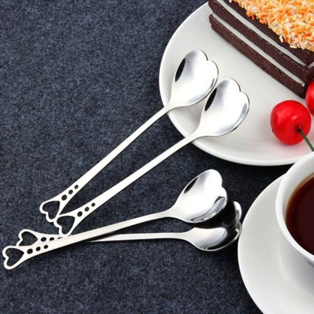 HK- Stainless Steel Heart Shape Tea Coffee Sugar Spoon Dessert spoon Teaspoon Ey Flatware, Knives & Cutlery