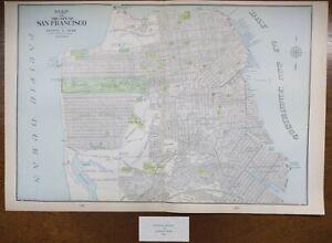 Vintage-1900-SAN-FRANCISCO-CALIFORNIA-Map-22-034-x14-034-Old-Antique-Original-PRESIDIO