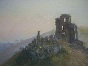 Pastell-Corfe-Castle-von-Muriel-Williams-Verwood-Dorset-selten-antik-signiert