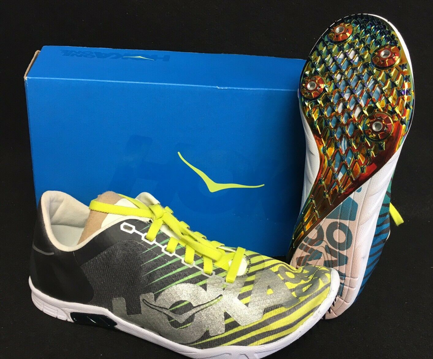 Hoka One One Speed Evo R Rio Womens shoes Running Track Yellow Green Silver Grey