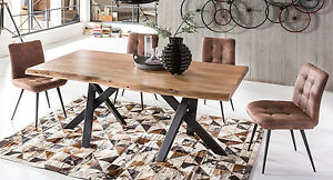 Das Bild Wird Geladen Esstisch Akazie Massiv  Baumkantentisch 180 X 90cm Metallfuesse
