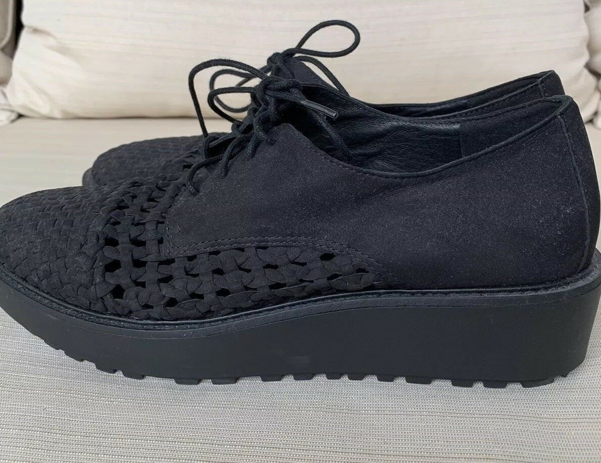 EILEEN FISHER Wouomo Oath Woven nero Nubuck Leather Platform Oxford 9.5