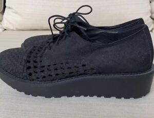 EILEEN-FISHER-Women-039-s-Oath-Woven-Black-Nubuck-Leather-Platform-Oxford-9-5