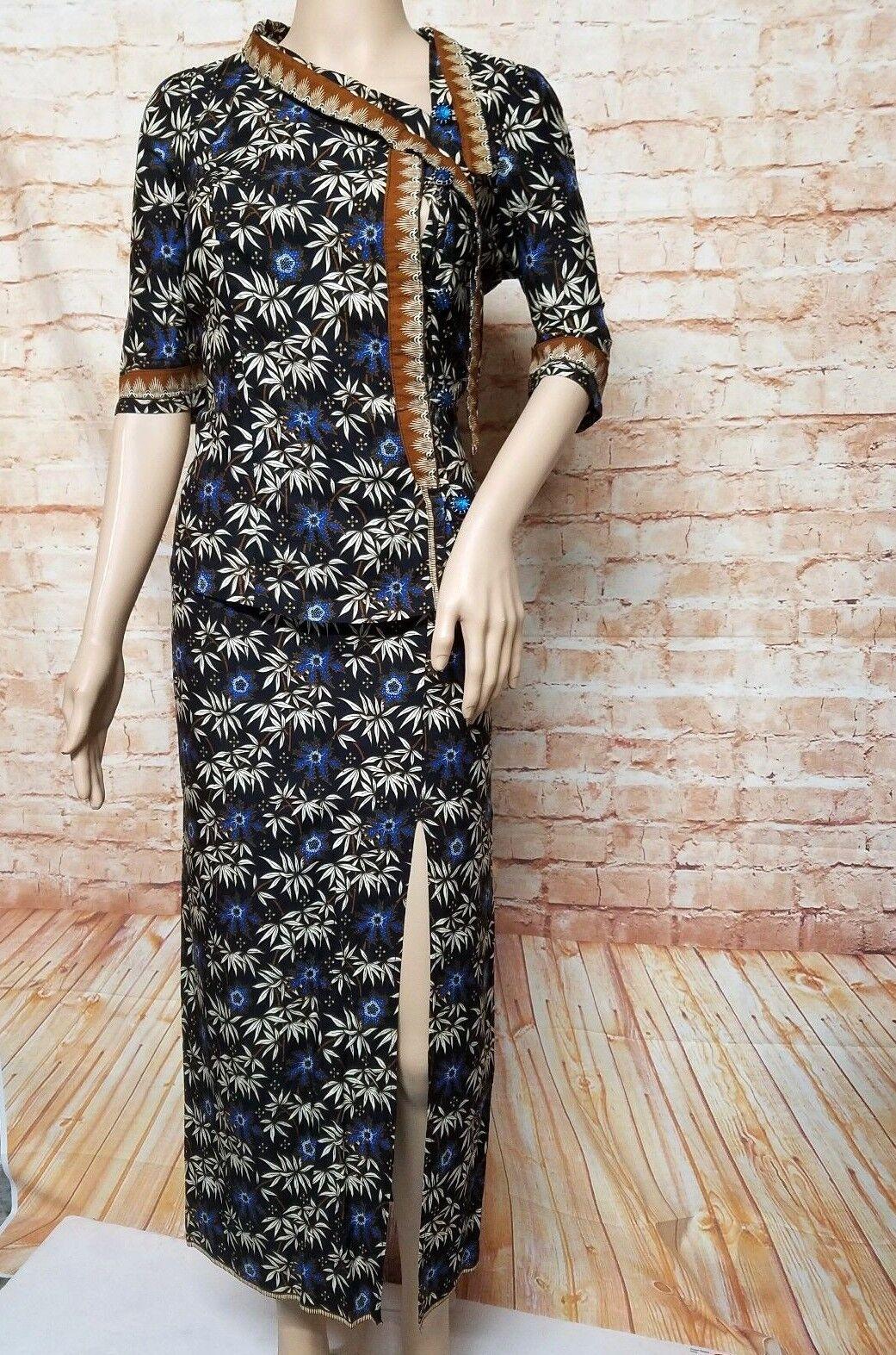 Khmer Set Clothe SARONG Khmer Maxi Slit Skirt Floral Button Down Casual Size M
