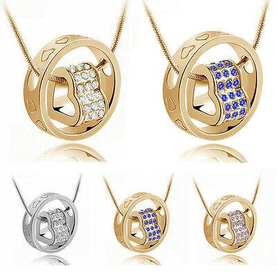 Fashion Women Rhinestone Crystal Ring Heart Love Chain Pendant Necklace Jewelry
