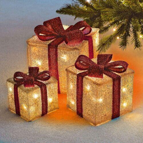 SET OF 3 LIGHT UP LED CHRISTMAS FESTIVE GIFT PRESENT BOX XMAS DECORATION GOLD