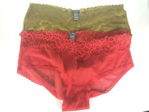 Aerie-Cheeky-Panties-XL-Lot-2-Set-Red-Gold-Tan-Lace-American-Eagle-Womens-NEW-bt