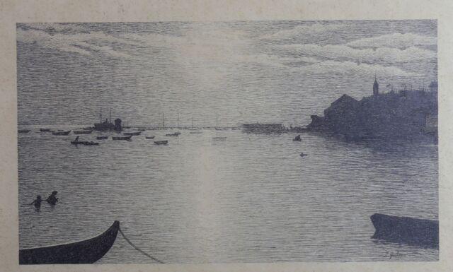 Louis Nicolas Victor Guillemin (1831-1906) Marine Ink Original Besançon Corot