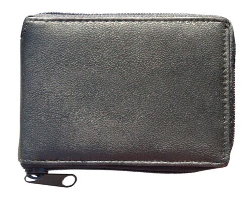 with internal Card Holder Note Slots Men/'s Zipped Leather Wallet Card Slots