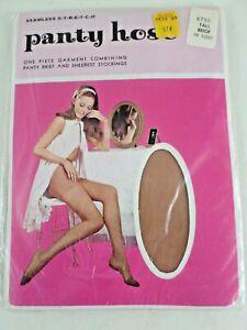 Vintage-Seamless-Stretch-Pantyhose-Nylon-NIP-Pretty-Model-Tall-Beige