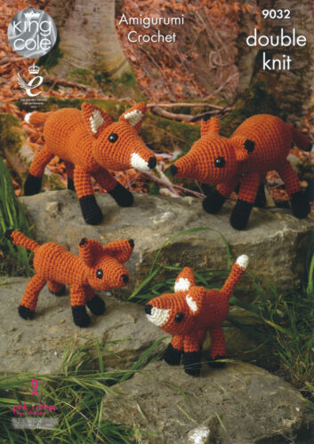 King Cole Amigurumi Crochet Double Knitting DK Pattern The Fox Family Toys 9032