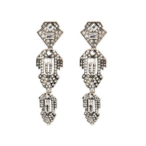 Boucles d/'Oreilles Clous Argenté Art Deco Long Cristal Mariage Vintage Class X16