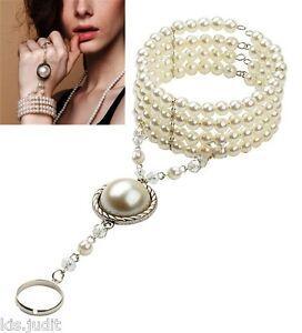 Bellissimo-anello-bracciale-baciamano-perle-bianche-India