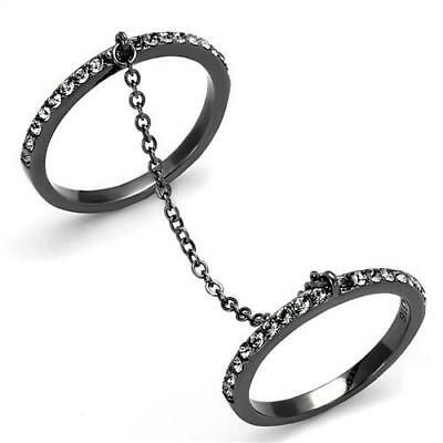 Brilliant Micro Paved Cubic Zircon CZ AAA Black Ion Plated Fashion Ring TK2614