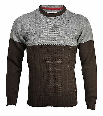 New Soul Star Mens Crew Neck Jumper Wool Blend Acrylic Knitted S M L XL Pullover
