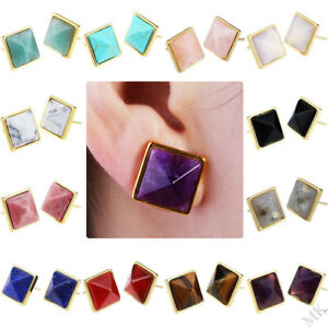 Women-039-s-Square-Faceted-Pyramid-Gemstone-Healing-Gold-Plated-Ear-Stud-Earrings