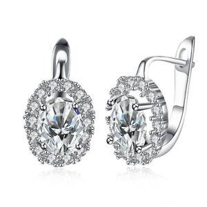 18K-White-Gold-Plated-Geo-Cut-Swarovski-Crystal-Stone-Latchback-Earring