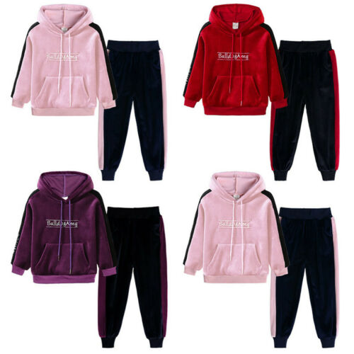 Toddler Kids Girl Boy Fleece Warm Letter Hooded Sweatshirt Pants Outfits Set