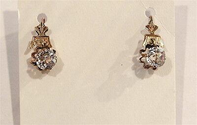 Antique Victorian 14K Rose Gold Paste Earrings c.1890