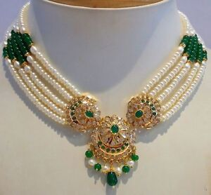 9ed08ec81844b4 22K GOLD REAL EMERALD PEARL RUBY PENDANT EARRING SET ANTIQUE STYLE ...