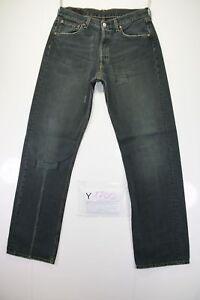 Levis-501-con-Strappi-Cod-Y1700-tg47-W33-L34-jeans-usato-Vita-Alta-Verde-Vintage