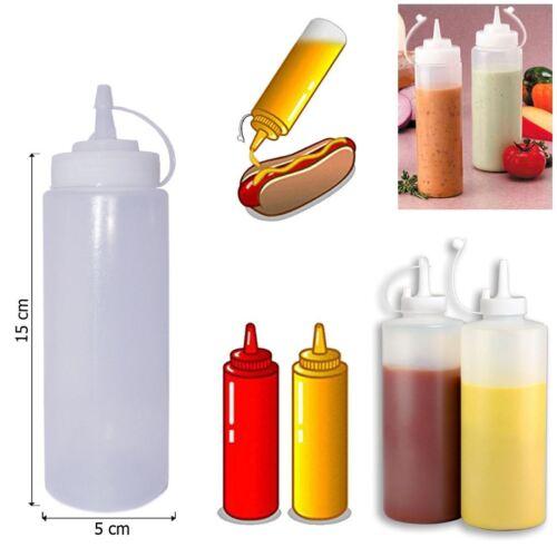 6x 227ml Plastik Pressen Soße Ketchup senffarben klar Flasche Öl Kosmetiktisch
