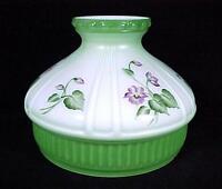 Aladdin Lamp Shade Green W/ Violets 10 Model 12 Student Kerosene Oil Glass