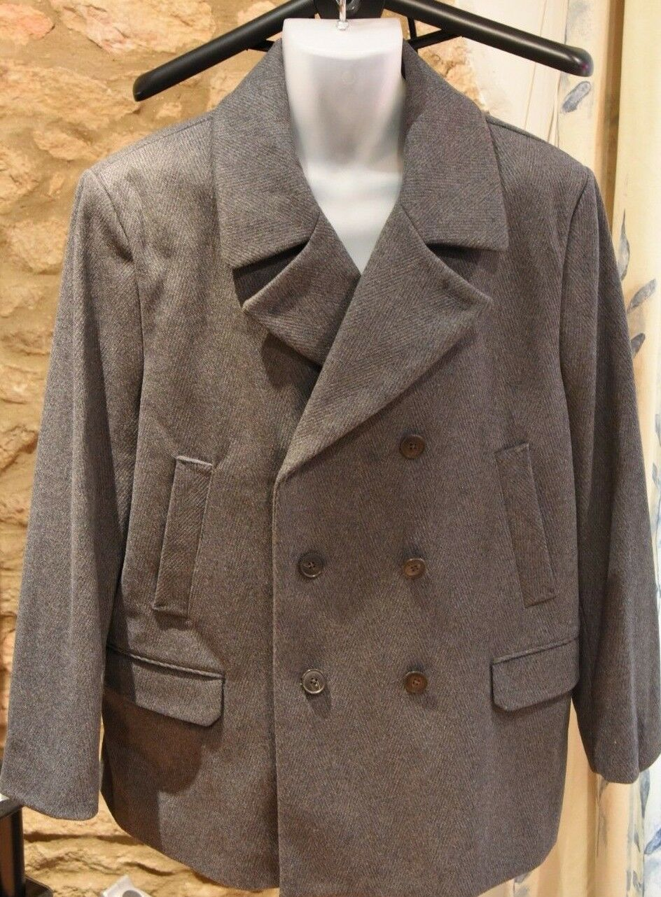 XL NEW Mens Grey Herringbone Wool Trench Mac Coat