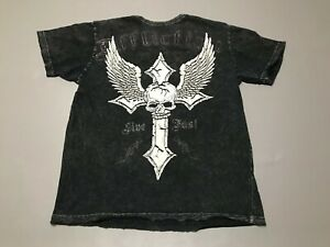 Men-039-s-AFFLICTION-Distressed-Style-Cross-Skull-Wings-T-Shirt-Adult-Size-L-Black