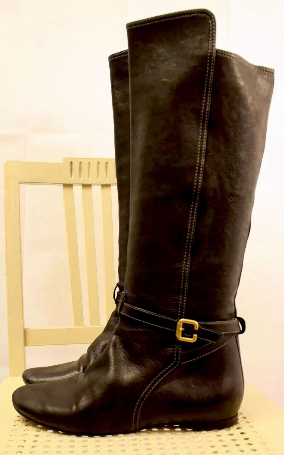 CHLOE Black Glove Soft Leather Knee Pull-On Riding Boots 10M 40EU ITALY NICE