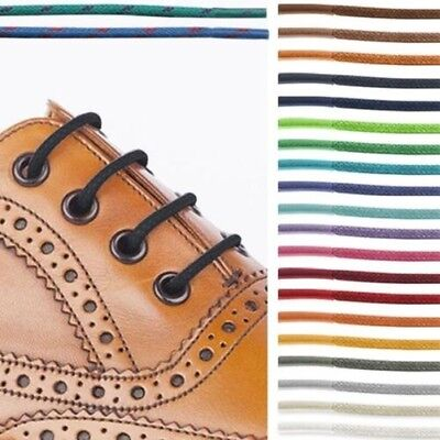Waxed Cotton Cord Round Shoelaces 2.5mm Dress Shoes Oxford Brogues Round Wax