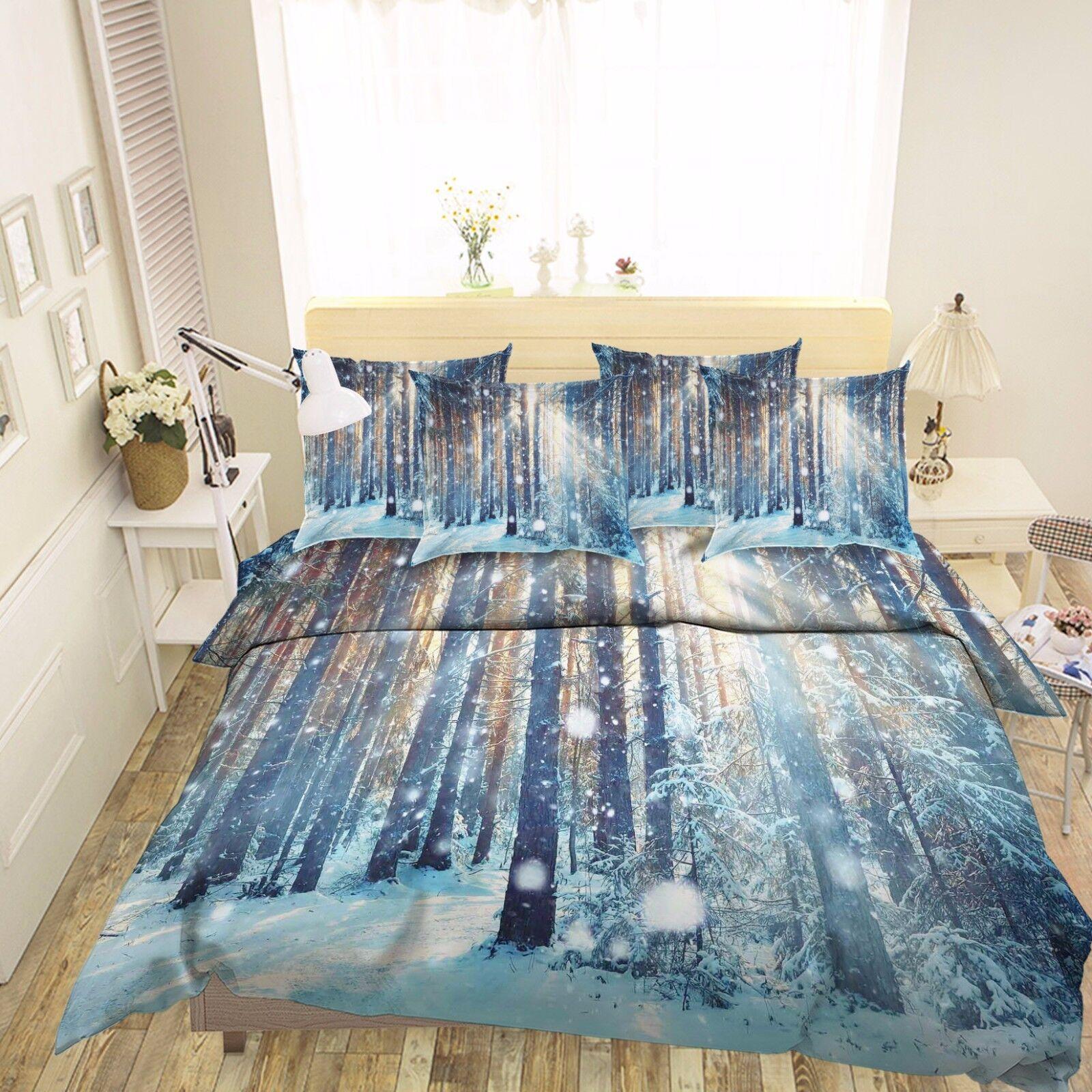 3D Sun Snow Forest 7 Bed Pillowcases Quilt Duvet Cover Set Single Queen AU Lemon