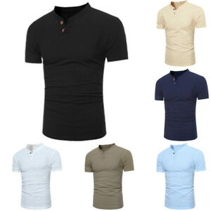 Casual-Summer-Mens-Classic-Button-Henley-Shirt-Short-Sleeve-V-Neck-Slim-T-shirts