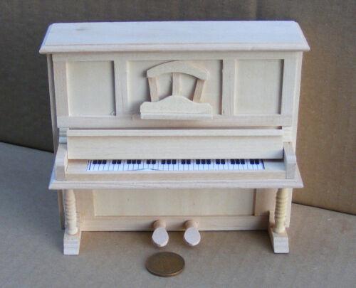 Escala 1:12 Acabado Natural De Madera Piano Vertical tumdee música Casa de Muñecas 086
