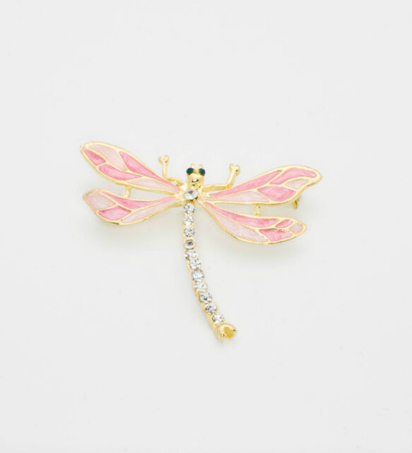 Pink Enamel Dragonfly Pin Clear Crystals Brooch Coat Pendant