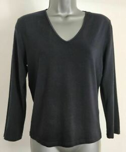 WOMENS-JAEGER-SIZE-SMALL-NAVY-BLUE-CASUAL-LONG-SLEEVE-V-NECK-STRETCH-TOP-T-SHIRT