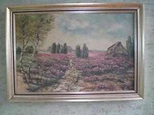 HEUER - Ölgemälde - Heide mit lila Blüten aus Besenheide - Deutschland - HEUER - Ölgemälde - Heide mit lila Blüten aus Besenheide - Deutschland