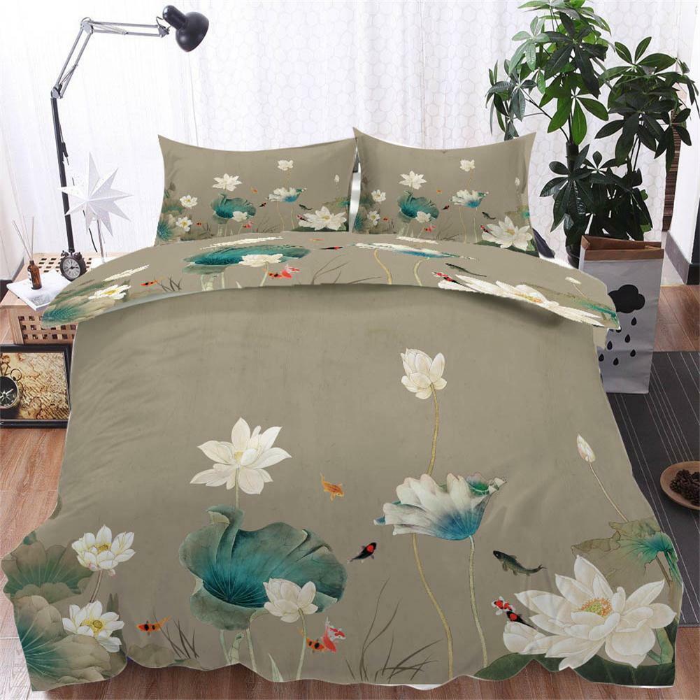 Cyan Lotus Leaves 3D impression couette courtepointe volonté des couvertures PilFaible cas literie ensembles