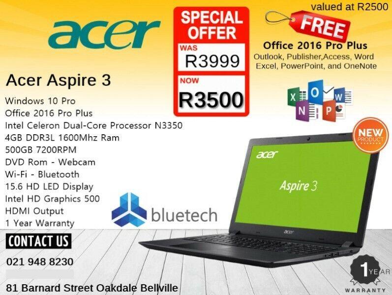 Brand New - Acer Aspire 3 Laptop -12 Months Warranty - 15.6 inch - Bluetech 021 948 8230.