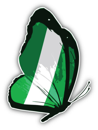 "/'/'SIZES/"" Nigeria Butterfly Flag Car Bumper Sticker Decal"