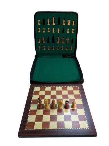 """11 3//4/"""" x 11 3//4/"""" Large Babul Wood Magnetic Travel Chess Set"""