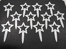 Cupcake Picks Set of 12 White Stars Plastic DecoPac 2007 Cake Toppers
