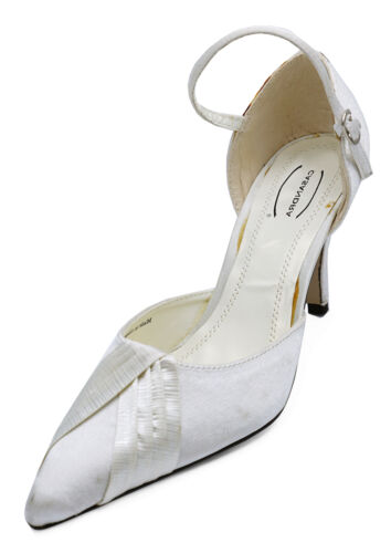 LADIES IVORY SATIN BRIDAL BRIDESMAID WEDDING POINTY COURT SHOES 3-8 SECONDS