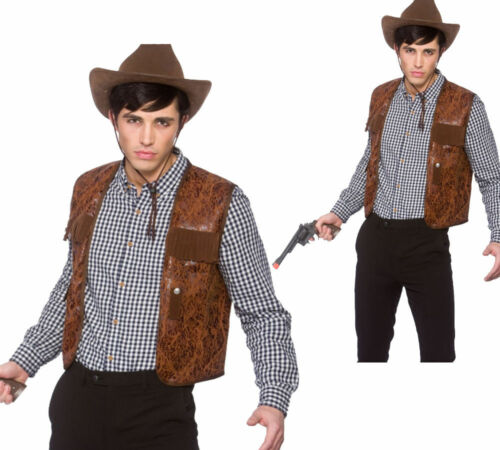 Marrón Wild West Cowboy Chaleco Hombre Rodeo Accesorio De Disfraz
