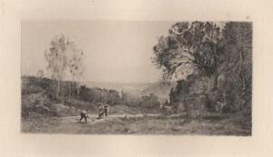 Camille-Corot-Hauteurs-de-Ville-d-039-Avray-Eau-Forte-ancienne-Laguillermie-XIXe