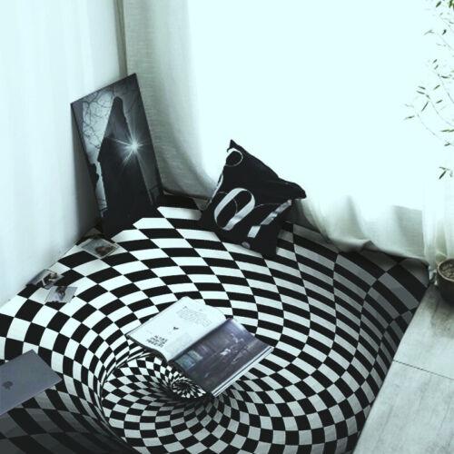 3D Swirl Bottomless Hole Area Rug Carpet Anti-Slip Floor Mat Bath Living Room